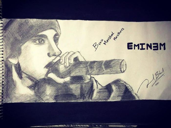 THIS WAS MY SECOND SKETCH THAT I EVER TRIED! MY INSPIRATION!..MY DREAM!...MY DESTINY! SIR BRUCE MARSHAL MATHERS III Art Rappers Rapgod Eminem Eminemfans Eminemfan Shady Shadyrecords SlimShady Brabit Micslaughter Evil Angel Lyricist Lyricalassassin Messiah Sketch Pencilsketch Shades Marshalmathers HipHop Newschool Inspirational Desiretomeethim Goat inktober