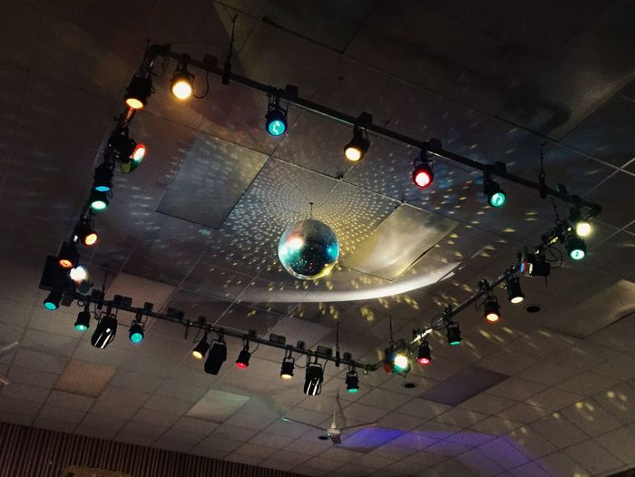 Working men's club disco Low Angle View Lighting Equipment Arts Culture And Entertainment Music Illuminated Indoors  Nightclub Nightlife No People Party Dance Disco Mirrorball