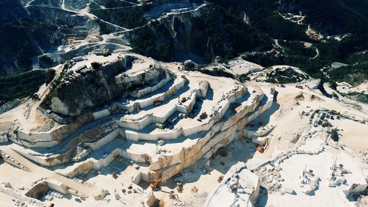 Impressive View From Above of a Marble Quarry in Carrara Italy