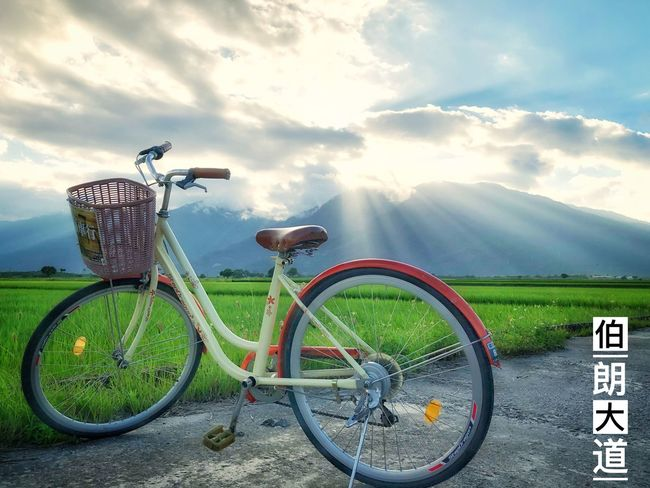 伯朗大道 Mountain Sunset Paddy Field Taidong, Taiwan 伯朗大道 Bicycle Land Vehicle Transportation Cloud - Sky Mode Of Transportation Sky Day Outdoors Land Field Nature Stationary Parking Road No People Plant Scenics - Nature Beauty In Nature Landscape Sunlight
