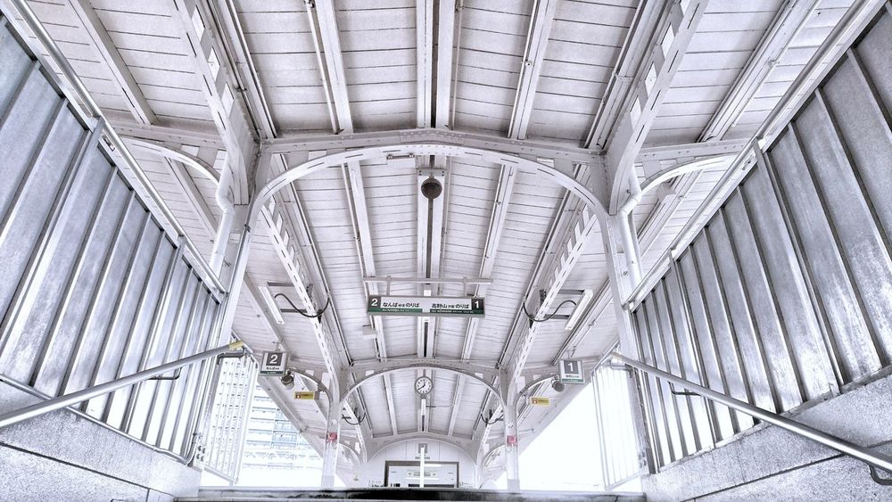 Train Station Railway Station Platform Train Platform Ceiling Perspective OSAKA Travel Photography From My Point Of View Snapshot Architecture Lines Pattern Lines And Shapes Geometric Shape Symmetrical Architecture Symmetry Low Angle View Ceiling And Wall EyeEm Best Shots EyeEm Best Edits 大阪 南海電鉄 駅