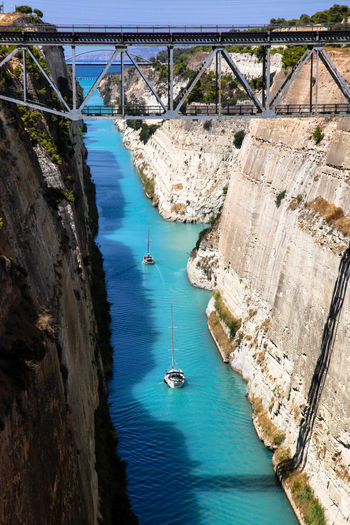 I dhow the shortest way Corinth Corinth Greece Corinth Canal Greece GREECE ♥♥ High Angle View Nautical Vessel Water Aerial View Transportation Day Outdoors Nature