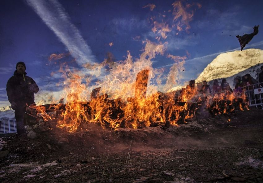 Heat - Temperature Flame Fire Fireball Outdoors Danger Sky Burning Fuego One Man Only Dark Art Dark Obstacles Obstacle Course Spartan Spartan