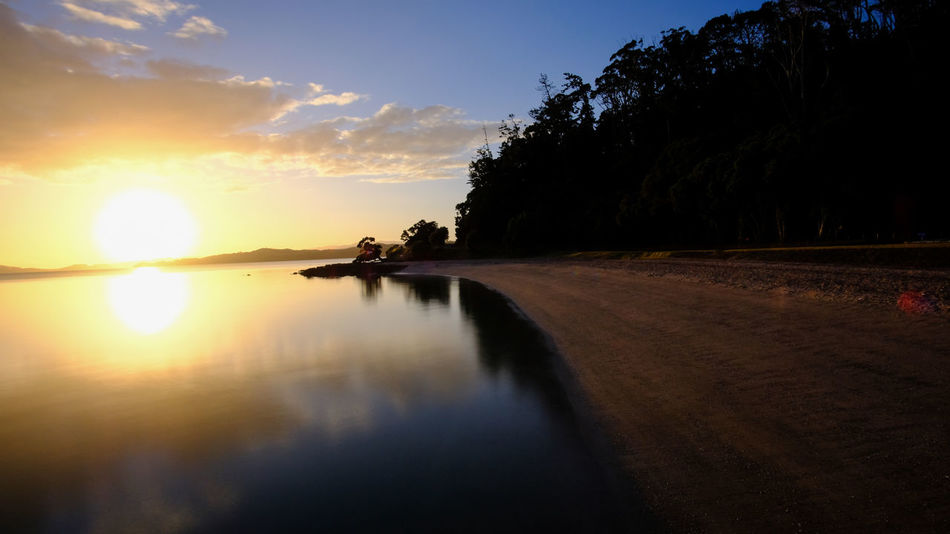 """""""Beauty in Nature"""" Auckland High Quality NZ Natural Nature Nature Photography Quiet Moments Reflection Trees Beach Clouds Maraetai New Zealand Outdoors Sea Sunlight Sunrise Sunset Tranquil Scene Tranquility Water"""