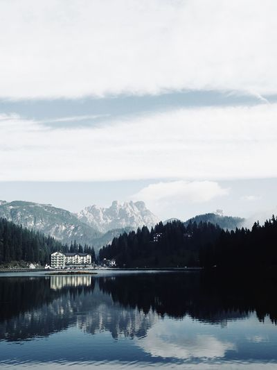 Lago di misurina Sea Dolomites Unesco World Heritage EyeEm Selects Panorama View Autumn Reflections In The Water Reflection Dolomiti Italy Lago Di Misurina EyeEm Gallery Water Reflection Lake Tree Sky Beauty In Nature Plant Tranquility Tranquil Scene Scenics - Nature Waterfront Nature Mountain Cloud - Sky Outdoors Idyllic