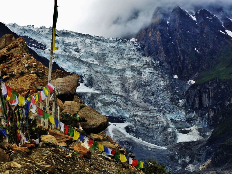 Manang Glacier Annapurna Annapurna Circuit Environment Rock Boulder Moraine Prayer Flags  High Altitude Nepal Manang Glacier Icefall Ice Manang Mountain Sky Day Outdoors Cold Temperature No People Winter Nature Snow Mountain Range Beauty In Nature