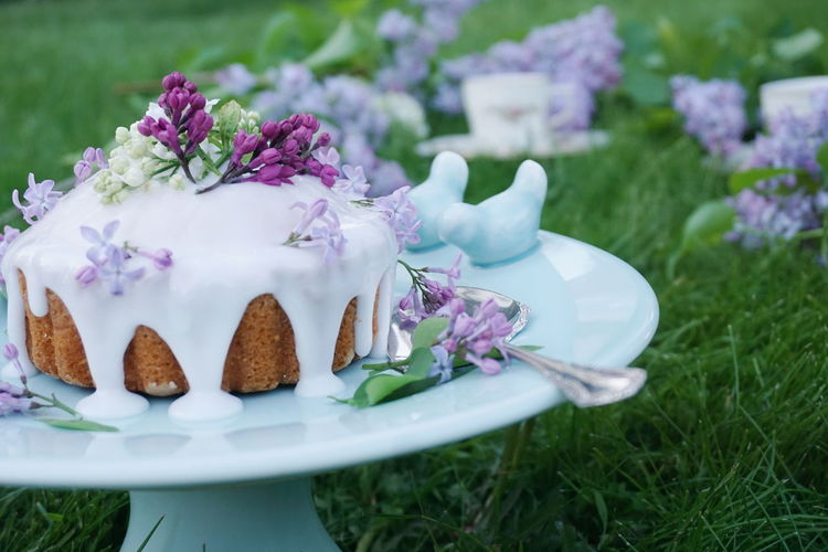 Close-Up Of Decorated Cake With Lilac Flowers On Stand At Grassy Field