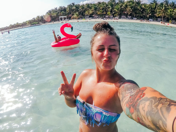Adult Beach Life Happy Happy People Holiday Mexico Smile ✌ Beach Beach Day Beautiful Woman Blue Day Leisure Activity Lesiure Activity Lifestyles Ocean Outdoors Real People Selfie Summer Sun Sunglasses Vacation Water Young Adult