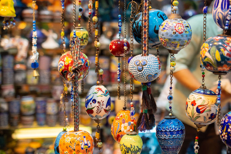 Close-up of decoration for sale in market