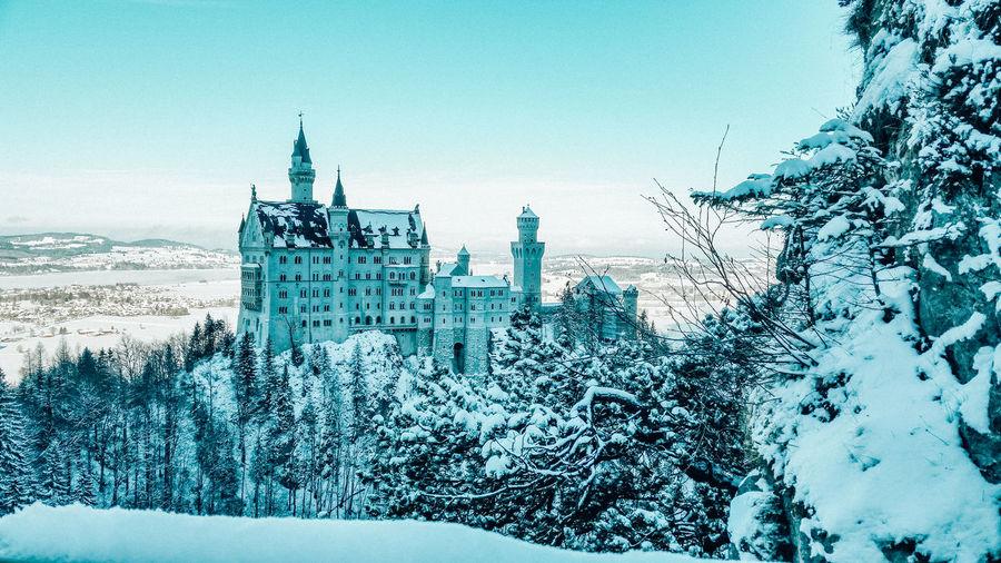 Neuschwanstein Schwanstein Castle Nature Winter Snow Castle Disney Nautical Vessel Drilling Rig Sky Architecture
