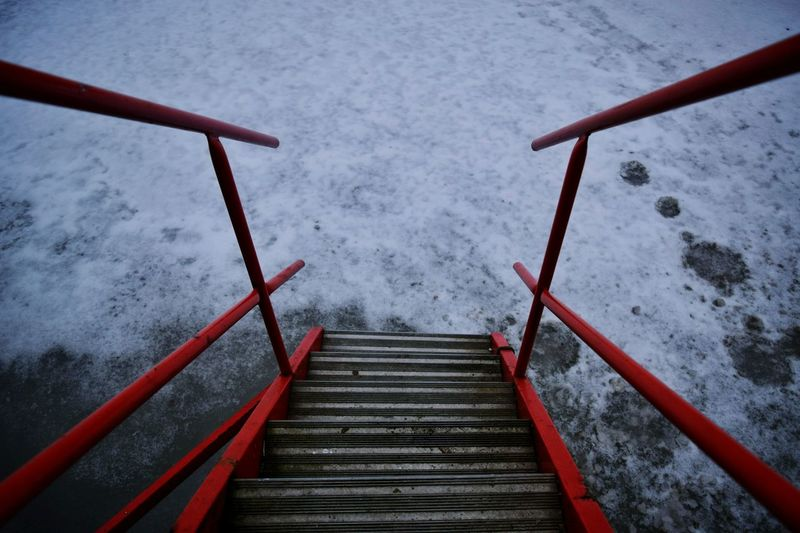 High Angle View Of Stairs In Snow