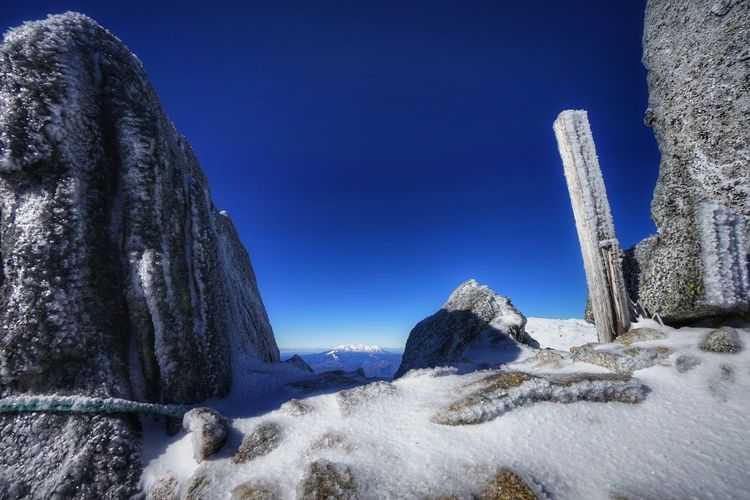 Icicles on rocks against clear blue sky during winter
