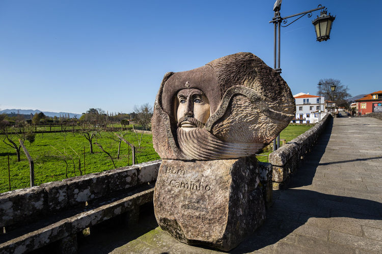 Good Luck on the Caminho do Santiago, Stone Sculpture, Ponte de Lima, Portugal Blue Sky Caminho Camino Camino De Santiago CaminodeSantiago Clear Sky Good Luck Luck No People No People, Outdoors Pilgrim Pilgrimage Santiago Santiago De Chile Sculpture Statue Stone Summer Wisdom Wish Wishes