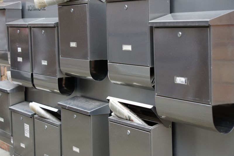 Close-up of mailboxes