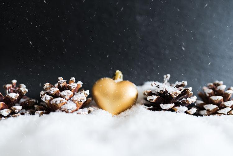 Christmas Copy Space Golden Love Ornament Winter Affection Christmas Decoration Cold Temperature Cones Heart Shape Pine Cone Season  Snow Snowing White