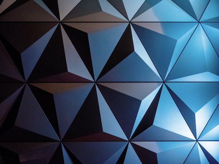Pattern Shape Backgrounds Geometric Shape Abstract Design No People Full Frame Triangle Shape Creativity Blue Shiny Close-up Textured  Modern
