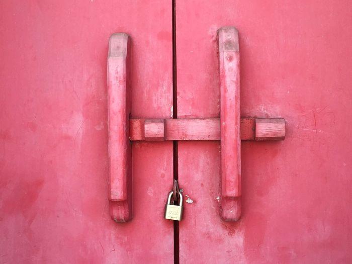 Extreme Close Up Of Locked Door