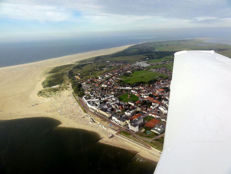 Aerial Shot Aerial View Borkum, Germany Elevated View Islands Flying High