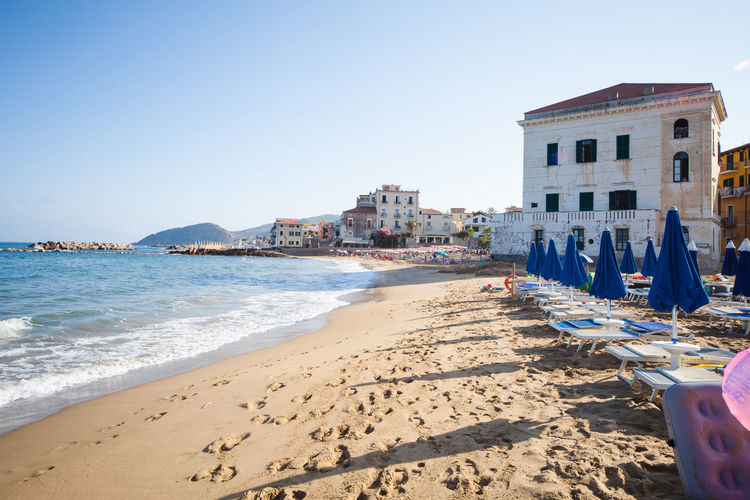 beach in Castellabate town, province of Salerno Morning Salerno Beach Building Exterior Castellabate Nature Outdoors Sand Sea Shore Travel Destinations Your Ticket To Europe