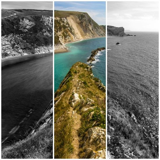 Contrast... juxtaposing monochrome with bright colours really makes you appreciate the way we view the world. Beachphotography Thesea Bluewaters Quiet Moments Beach Durdle Door Nature Photography Bestseatsinthehouse Photography Beauty