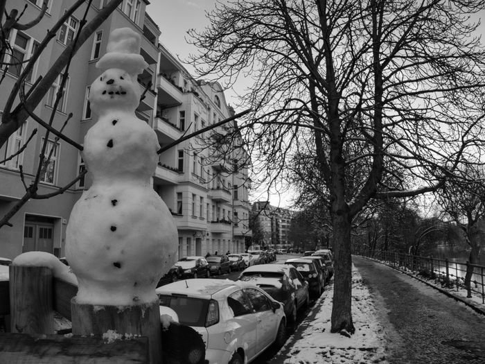 View of statue in city during winter