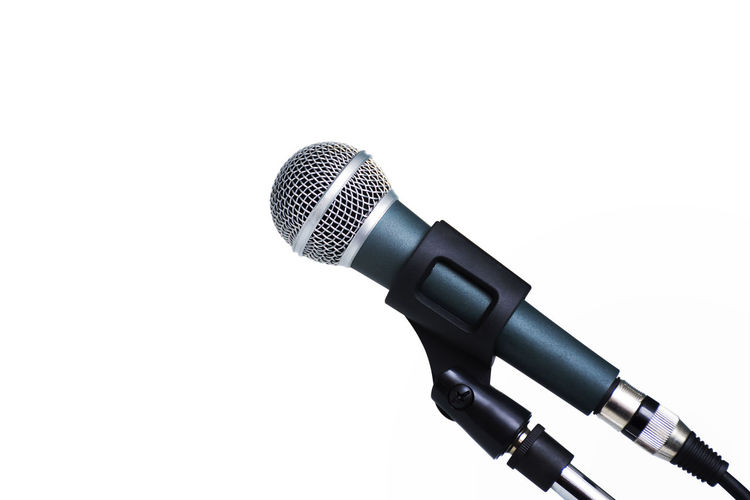 Isolated Sound Speech Stage Audio Equipment Broadcast Close-up Communication Copy Space Cut Out Electrical Equipment Equipment Indoors  Input Device Instrument Metal Microphone Music Single Object Sound Recording Equipment Speech Bubble Studio Shot Technology Voice White Background