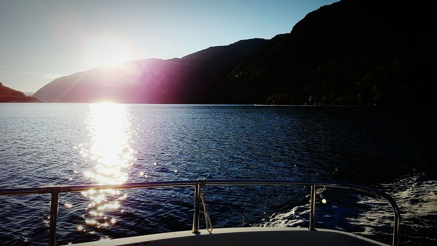 Norway Water Boat Sunset Summer Water Sunlight Sun Lake Horizontal Nature Sunbeam Beauty In Nature Refraction Outdoors Renewable Energy Day No People