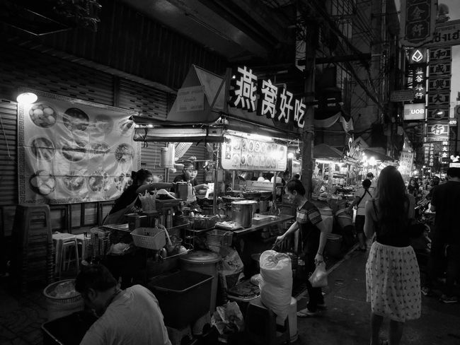 City Travel Destinations Food Night Women Food And Drink Illuminated Market Stall Built Structure Architecture Men Building Exterior Large Group Of People Outdoors Fast Food People Bangkok Chinatown Yaowarat