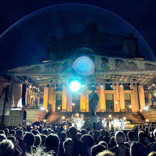 Berlin Crowd Architecture Real People Group Of People Large Group Of People Built Structure Illuminated Night Building Exterior Arts Culture And Entertainment Building Lifestyles Music Leisure Activity Audience Performance Men Lighting Equipment Architectural Column Enjoyment