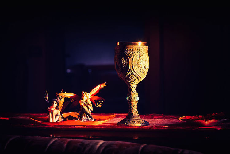Autumn mood - Fairies and Celtic goblet Fire Flame Burning Fire - Natural Phenomenon Indoors  Heat - Temperature Glass Illuminated No People Close-up Table Refreshment Glowing Nature Food And Drink Lighting Equipment Light - Natural Phenomenon Goblet Sunset Fairies Inspiration Objects Autumn Light Melancholy
