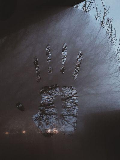 Hand Handshape Wet Window Background Landscape Cloudy Cold Shape