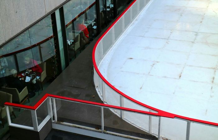 Rockefeller Plaza Ice Rink Cafe Cafe Time Red Lines Dining Shadow Reflection
