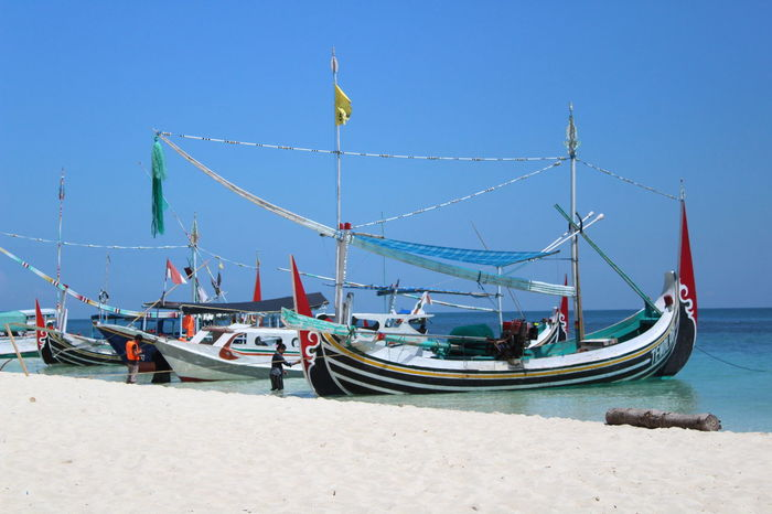 Traditional Transportation Beach Blue Boat Clear Sky Day Mode Of Transport Moored Nature Nautical Vessel No People Outdoors Sand Sea Sky Transportation Water