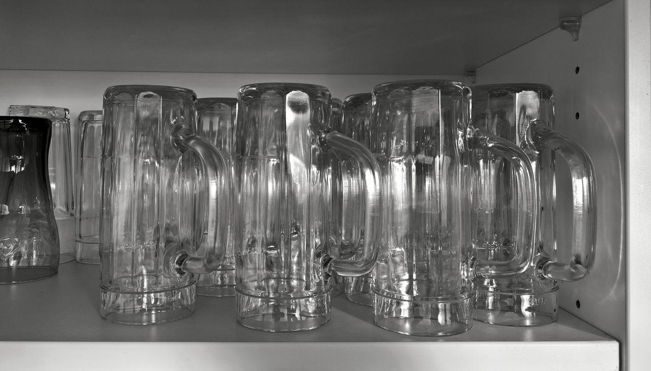 Drinking Glasses On Shelf In Kitchen