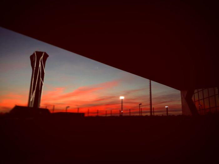 Sunset Illuminated Red Silhouette Sky