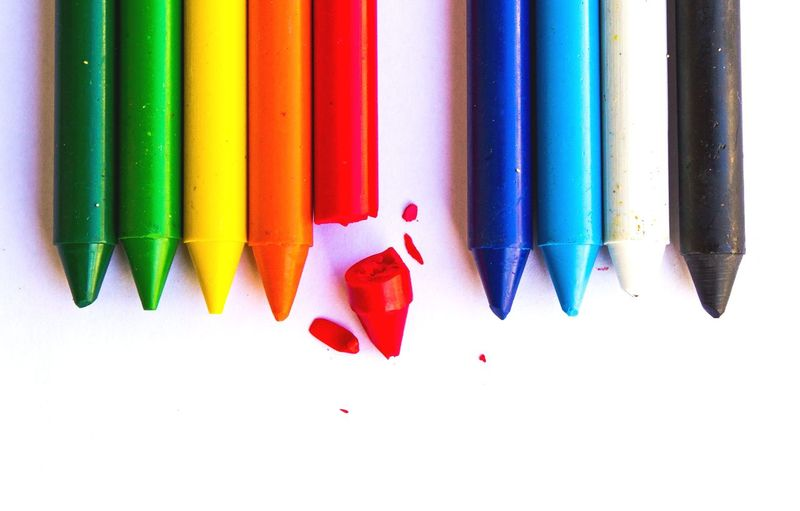 Pencil Multi Colored Colored Pencil Still Life Variation No People Close-up Indoors  White Background Day Colorful Art Paper Artistic Artist Kids Chalk Red Blue Orange Yellow White