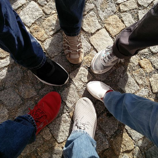 Good time Sunlight Shadow Real People High Angle View Day Lifestyles Human Body Part Human Leg Standing Outdoors Friendship Adult People Low Section Coblestone Coble Stones Coblestone Street Simple Friends Togetherness Starshape Star