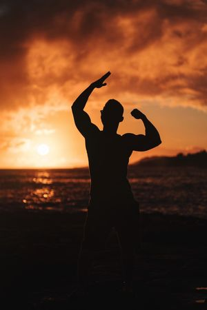 Sunset Silhouette Arms Raised Real People Nature Sun Sky Beauty In Nature Beach Sea Lifestyles Women Outdoors One Person Scenics Water Horizon Over Water Young Women Day People Bodybuildingmotivation Body & Fitness Bodybulding