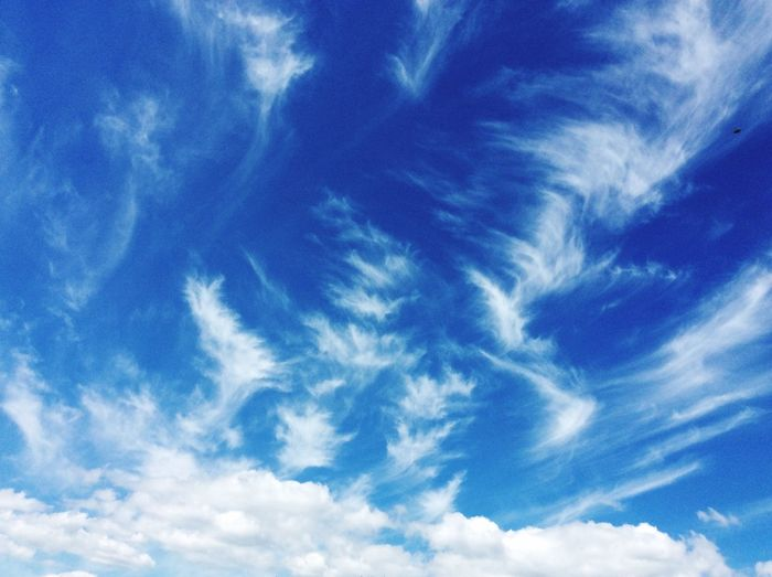 Sky And Clouds Sky Cloud - Sky Blue Low Angle View Beauty In Nature No People Nature Meteorology Full Frame Sunlight Cloudscape