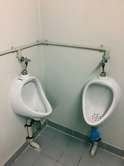 High angle view of toilets in public restroom
