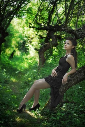 Young woman sitting on tree trunk against trees