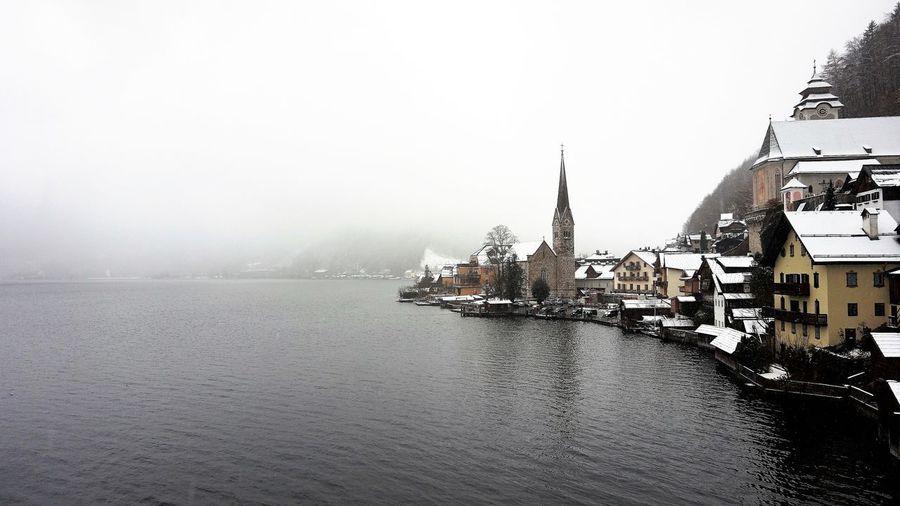 Hallstatt, Austria Austria Winter Architecture Building City Fog Hallstatt Hallstatt, Austria Lake Lake View Landscape Travel Destinations