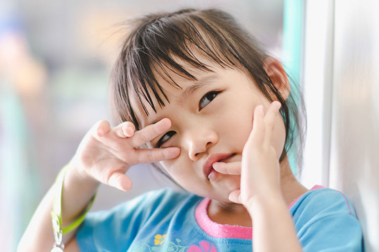 Casual Clothing Child Childhood Close-up Cute Emotion Focus On Foreground Front View Hand Headshot Human Body Part Human Hand Indoors  Innocence Offspring One Person Portrait