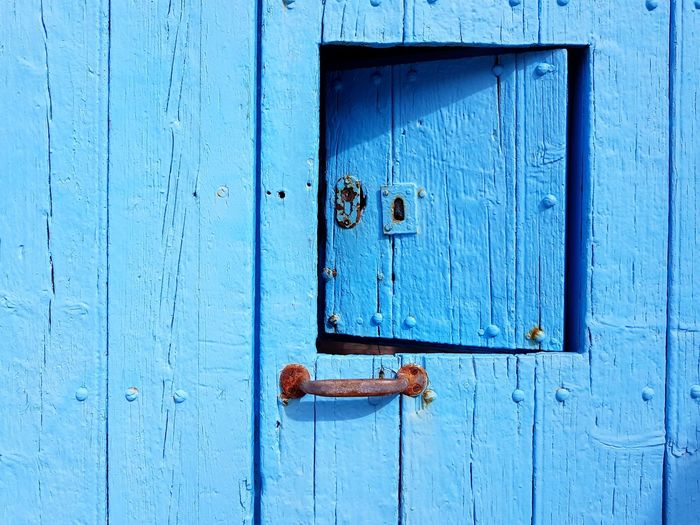 Santa Margalida Backgrounds Blue Full Frame Wood - Material Textured  Door Safety Closed Close-up Weathered Door Handle
