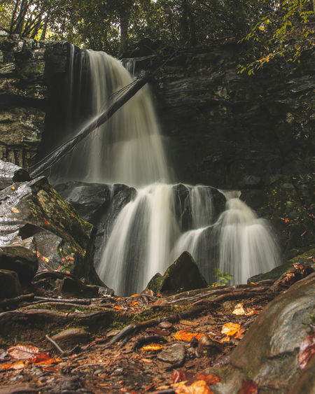 Secluded waterfall in autumn