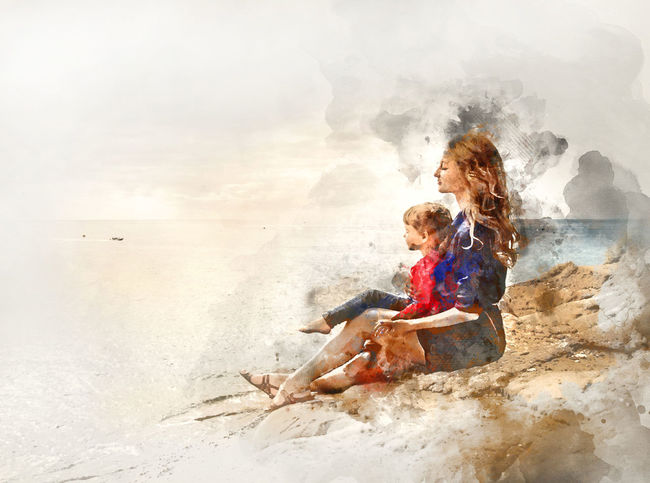 Digital watercolor painting of a mother and daughter sitting on a rock near the sea Baby Digital Drawing Family Mother Watercolour Beach Child Coast Daughter Digital Art Digital Illustration Digital Painting Digitally Altered Digitally Generated Digitally Generated Image Illustration Kid Ocean Outdoors Sea Sitting Togetherness Watercolor Watercolor Painting Watercolour Painting
