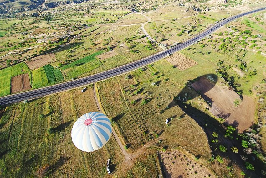 Road bird's eye view Cappadocia Kapadokya Knycl Road Balloon Hot Air Balloon High Angle View Day Land Nature Landscape Beauty In Nature Scenics - Nature Field Sunlight No People Plant Outdoors Aerial View