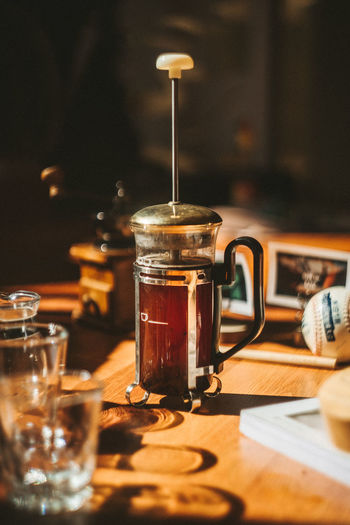 Close-up of coffee in french press