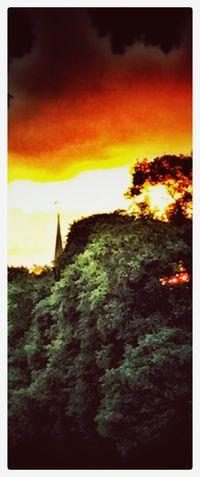 Red Sky In The Morning Skyline Sunrise