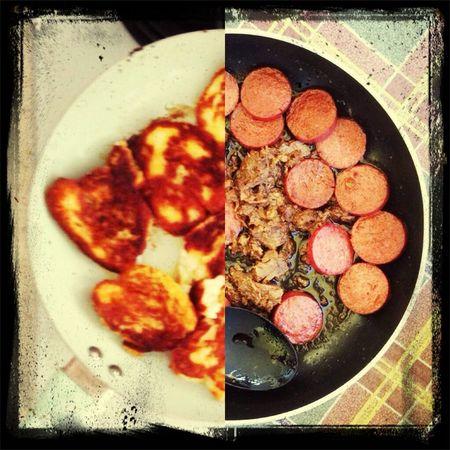 Kahvaltı Hellim Sucuk Kavurma Afiyet Olsun